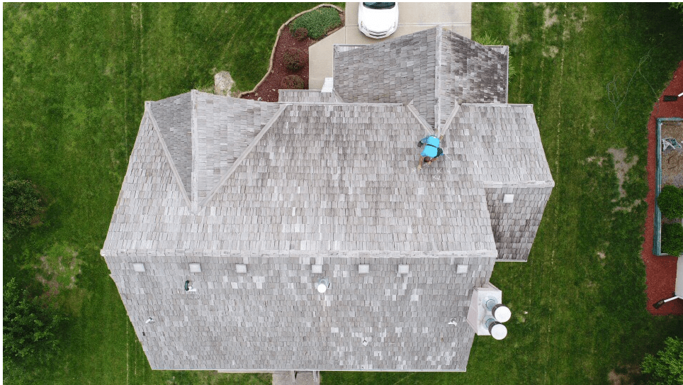 aerial view of residential roof